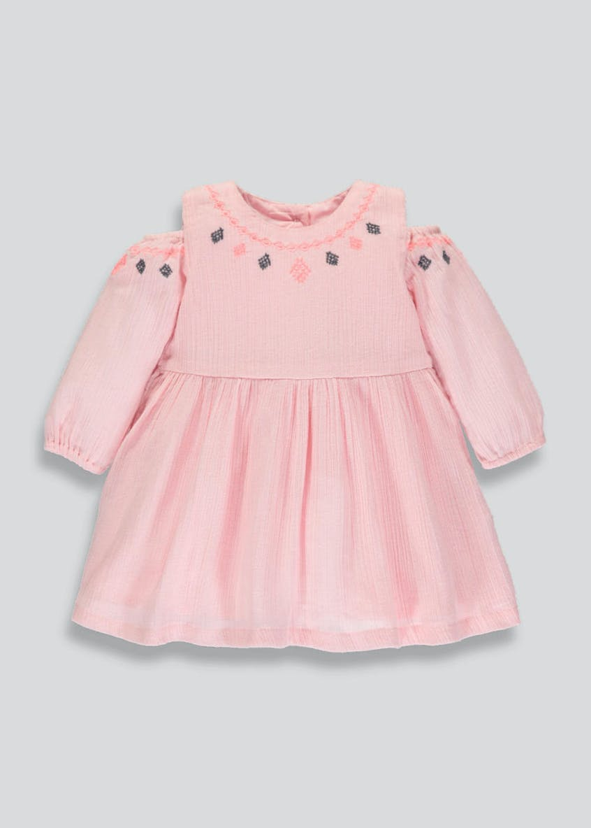 Girls Cold Shoulder Embroidered Dress (Newborn-18mths)