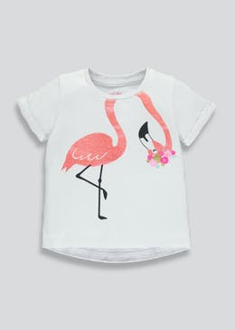 Girls Glitter Flamingo T-Shirt (3mths-6yrs)