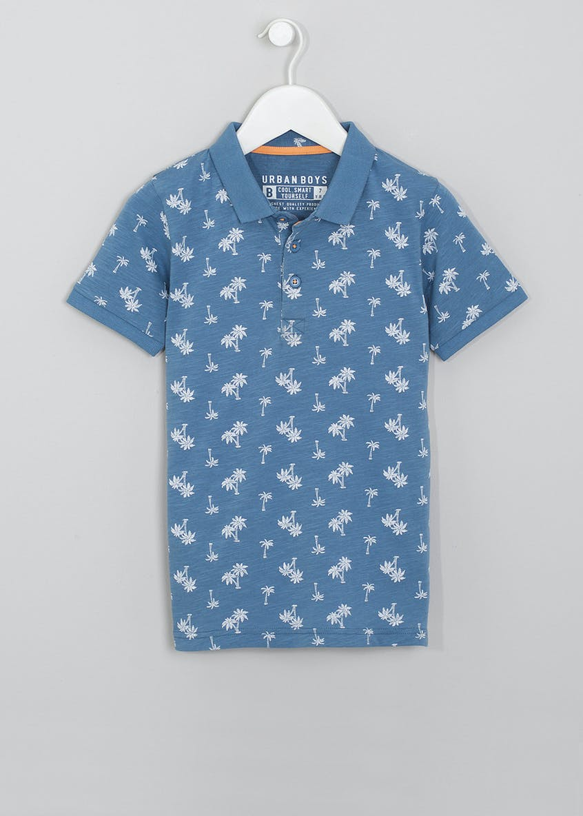 Boys Palm Print Polo Shirt (4-13yrs)