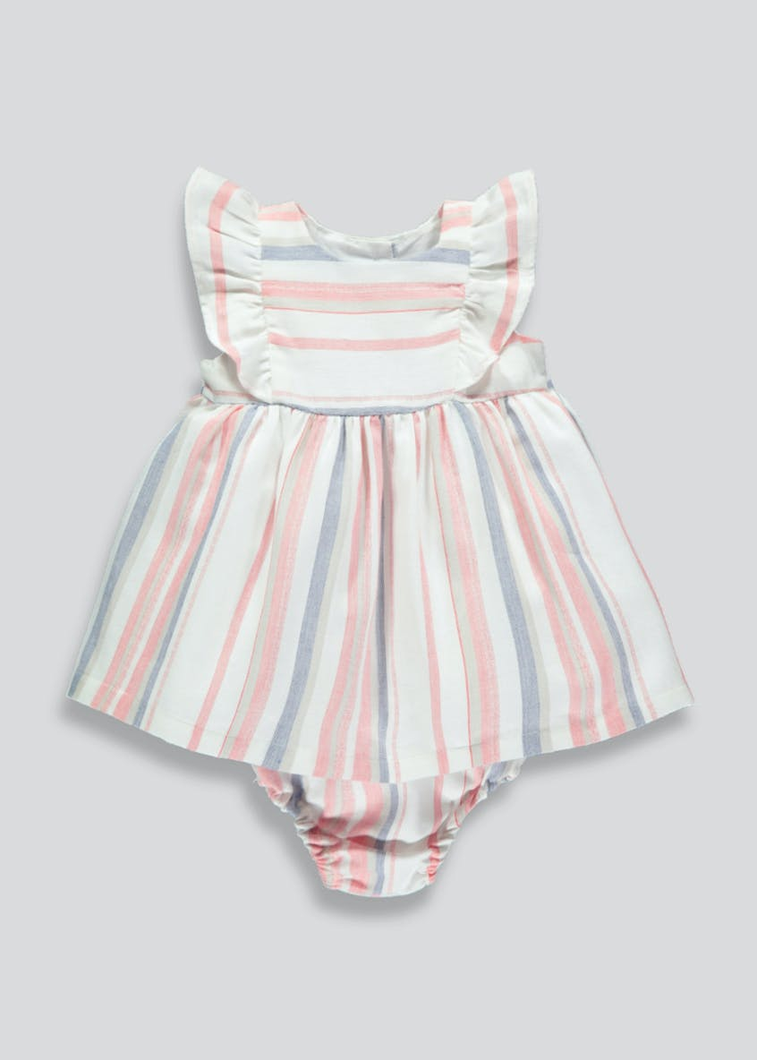 Girls Stripe Dress & Knickers (Tiny Baby-18mths)