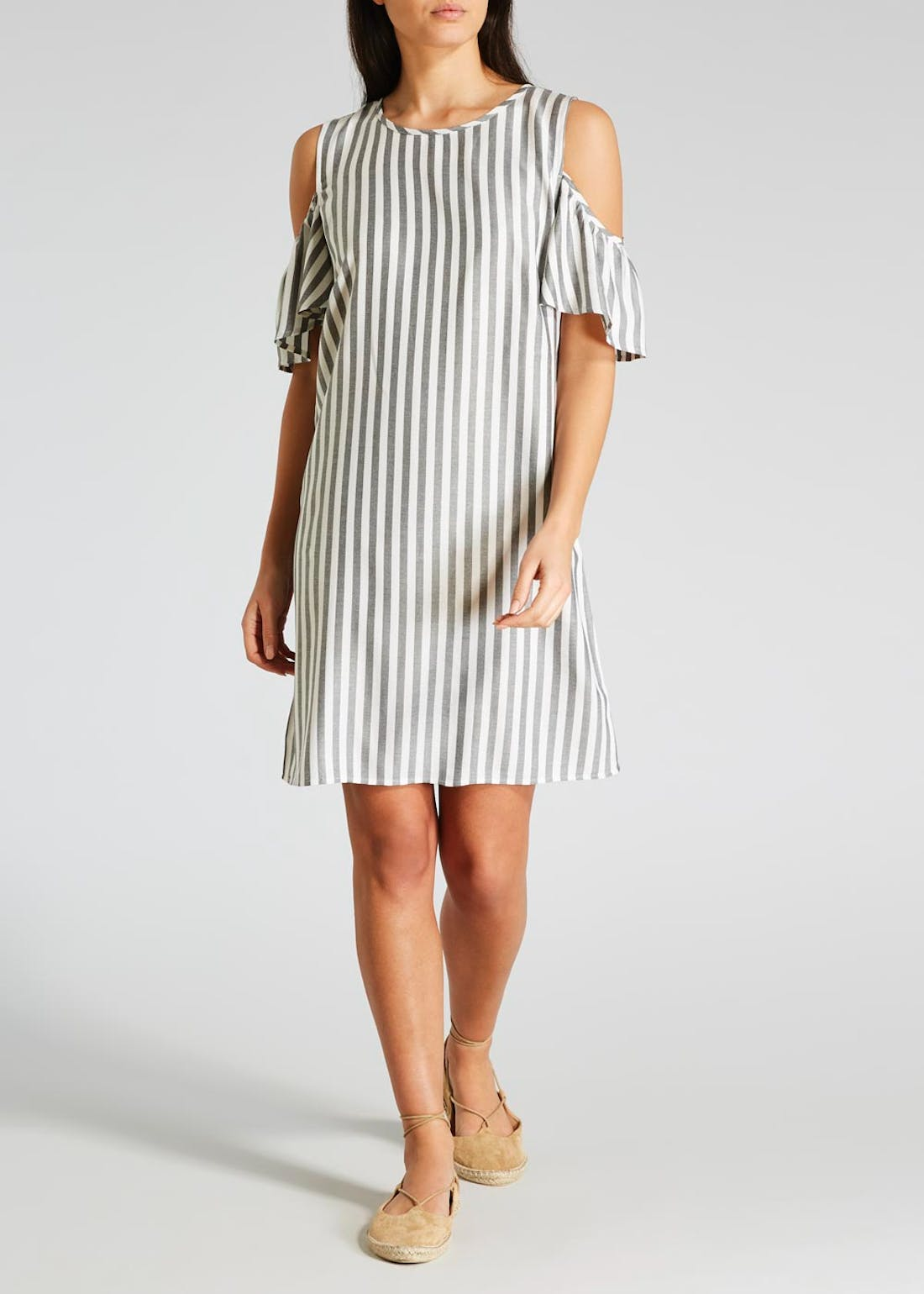 Stripe Viscose Cold Shoulder Dress