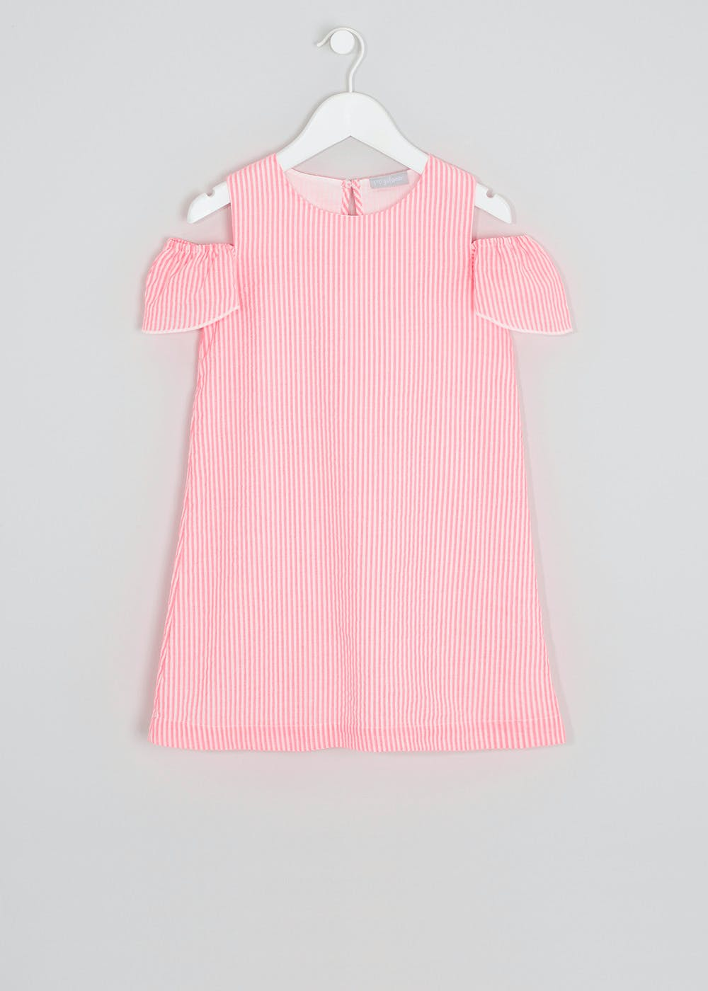 Girls Frill Sleeve Stripe Dress (4-13yrs) – Pink – Matalan