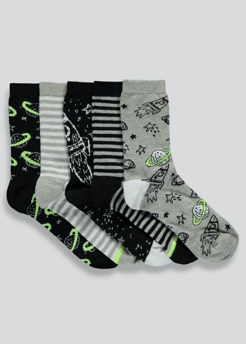 Boys 5 Pack Space Socks (Younger 6-Older 6.5)
