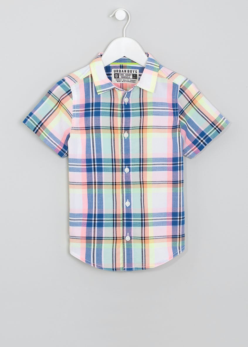 Boys Neon Short Sleeve Check Shirt (4-13yrs)