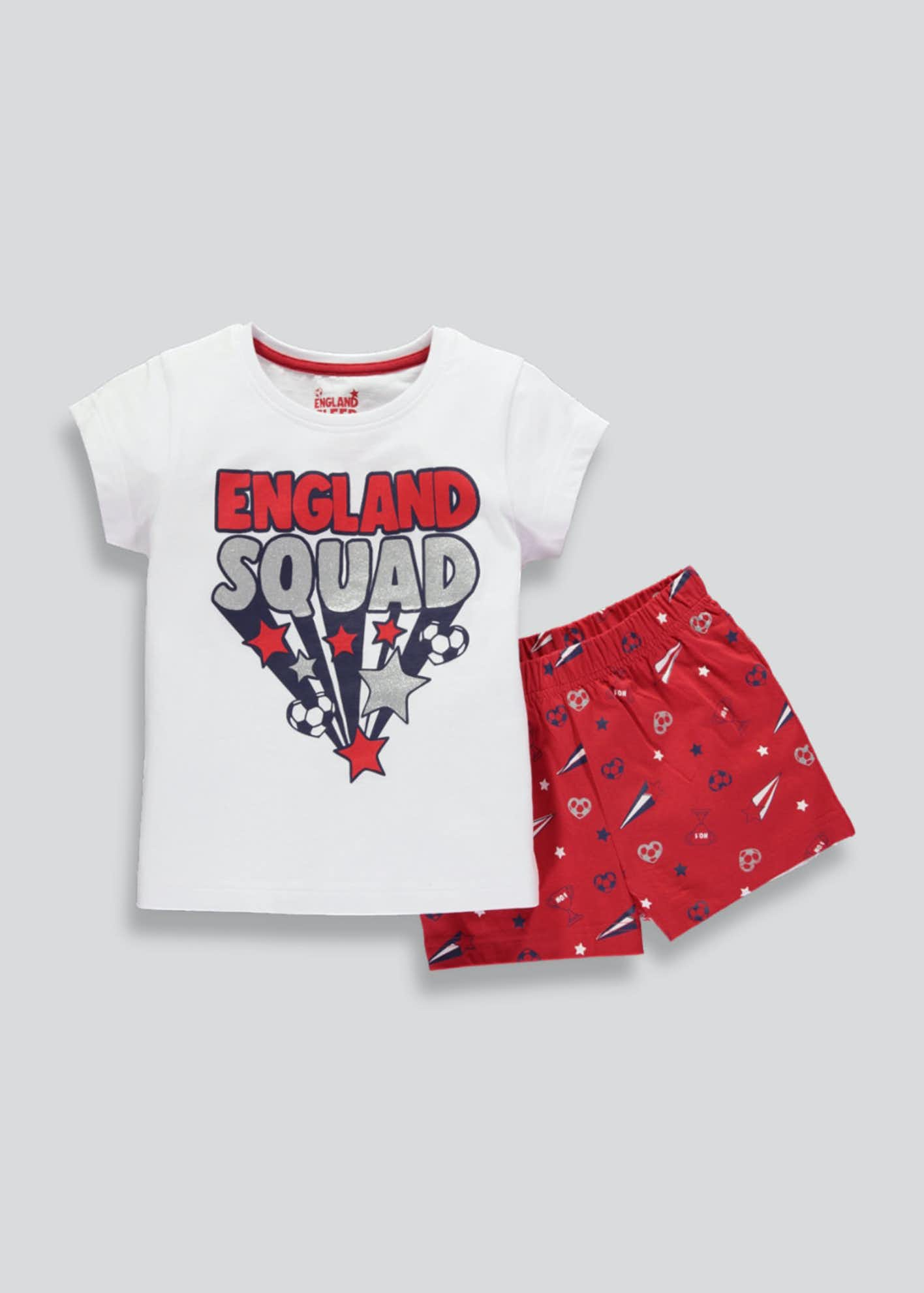 Girls World Cup England Football Short Pyjama Set (4 13Yrs)