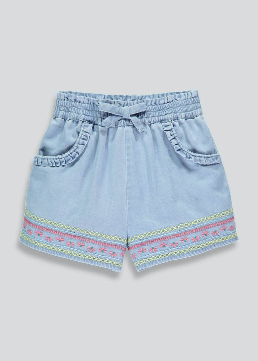 Girls Embroidered Denim Shorts (3mths-6yrs)