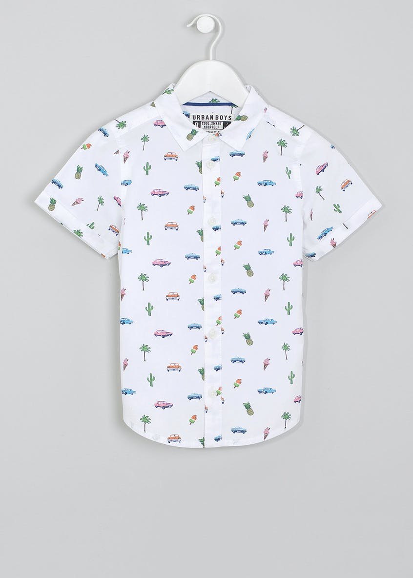 Boys Cadillac Print Short Sleeve Shirt (4-13yrs)