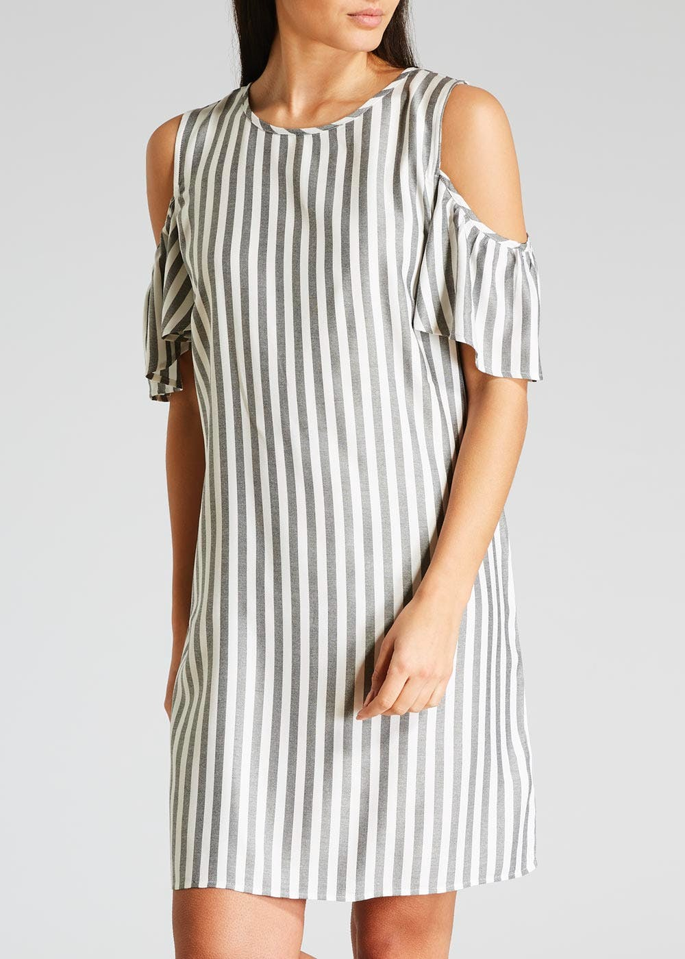 Stripe Viscose Cold Shoulder Dress – Grey – Matalan