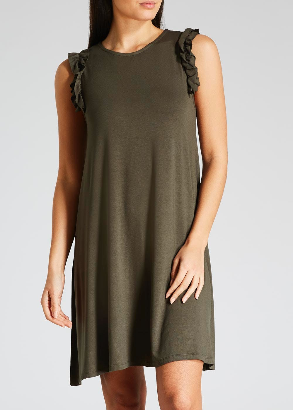 dc5557c4e813 Frill Sleeveless Jersey Swing Dress – Khaki – Matalan