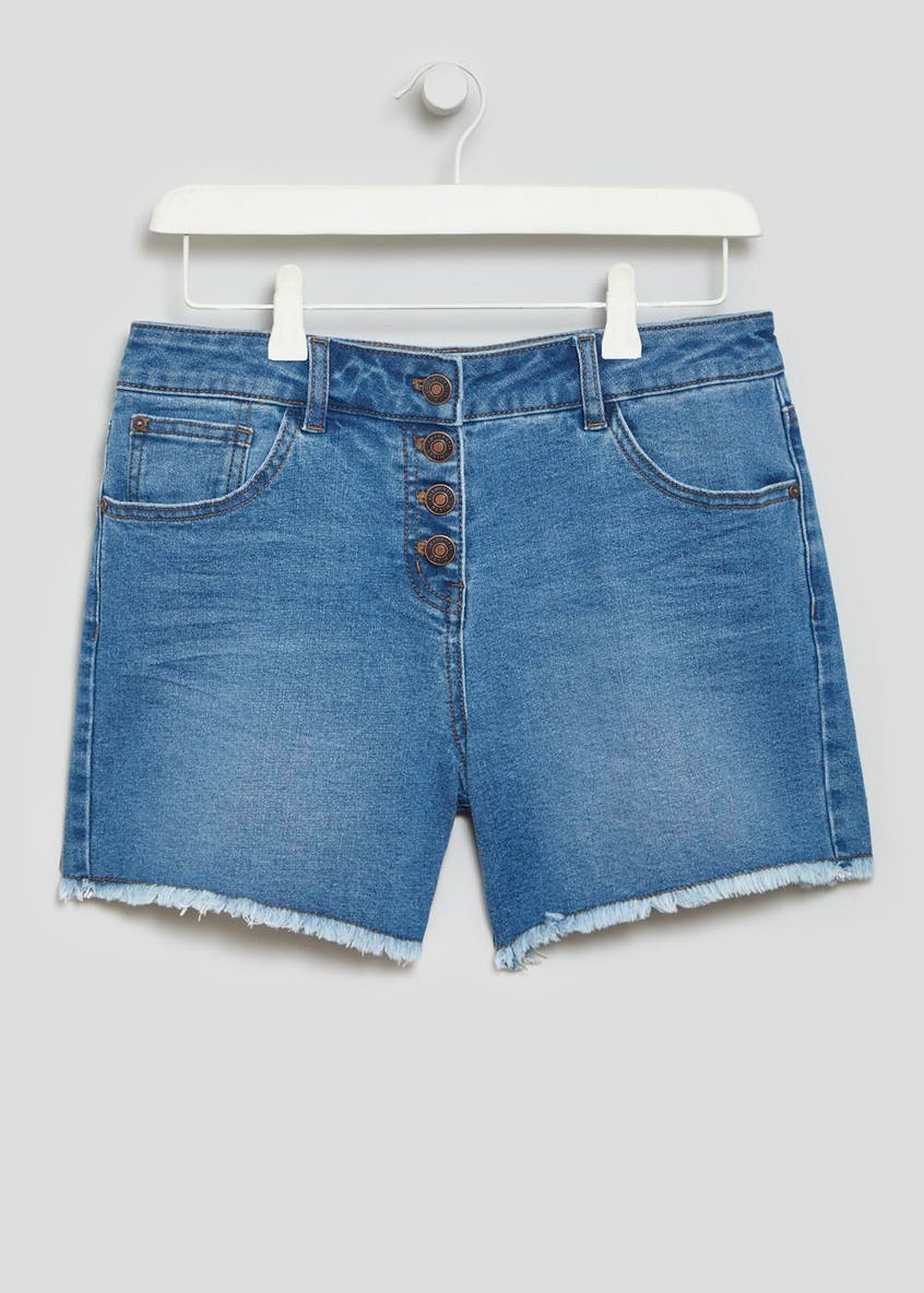 Button Detail Denim Shorts