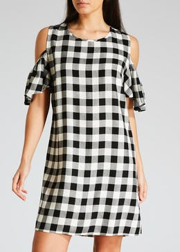 Gingham Viscose Cold Shoulder Dress