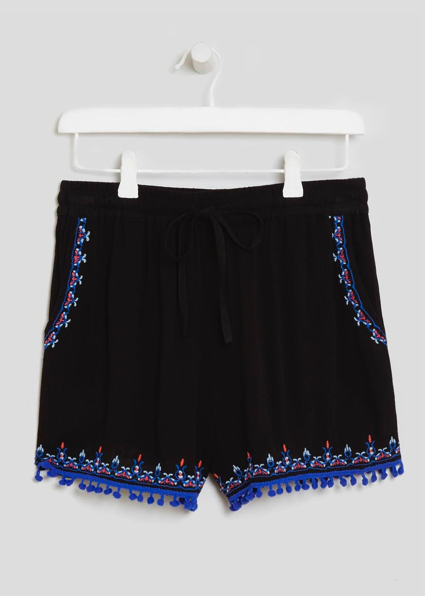 Pom Pom Embroidered Viscose Shorts