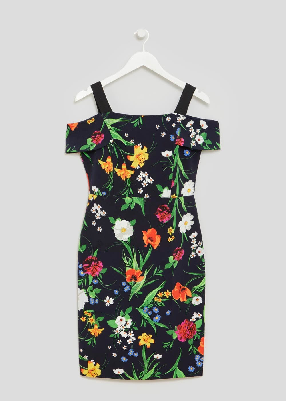 Soon Meadow Floral Bardot Shift Dress – Navy – Matalan
