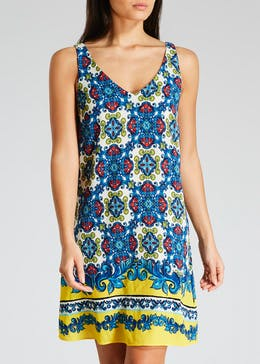 Border Print Lattice Back Cami Dress