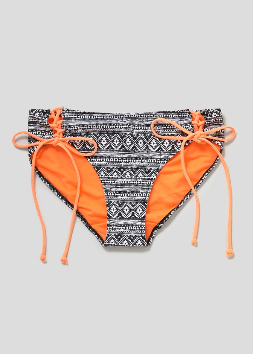Aztec Lace Up Bikini Bottoms