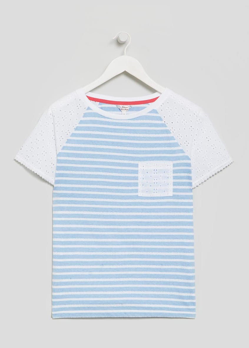 Falmer Schiffley Lace Sleeve Stripe T-Shirt