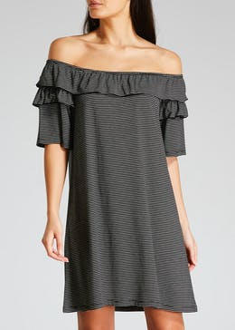 Ruffle Stripe Bardot Jersey Dress