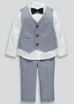 Boys Premium Shirt Waistcoat Trousers & Bow Tie Set (9mths-6yrs)