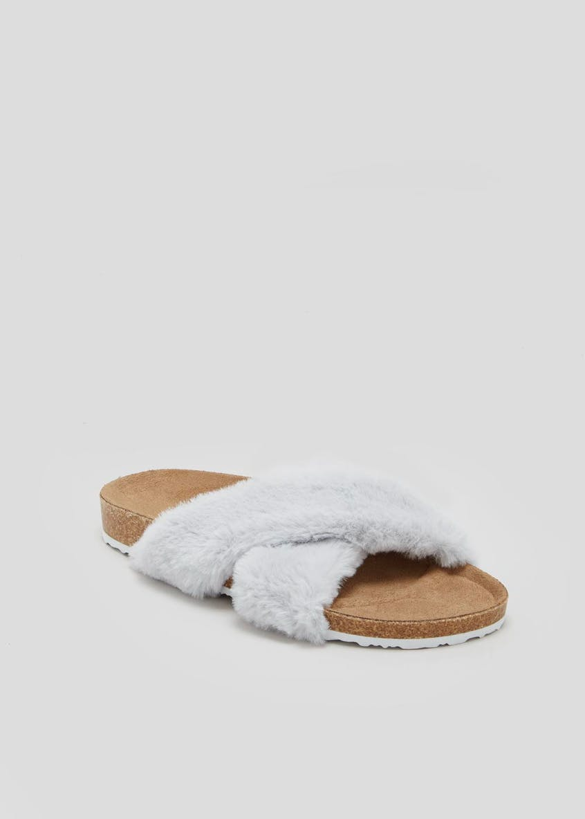 Faux Fur Cross Strap Footbed Slippers
