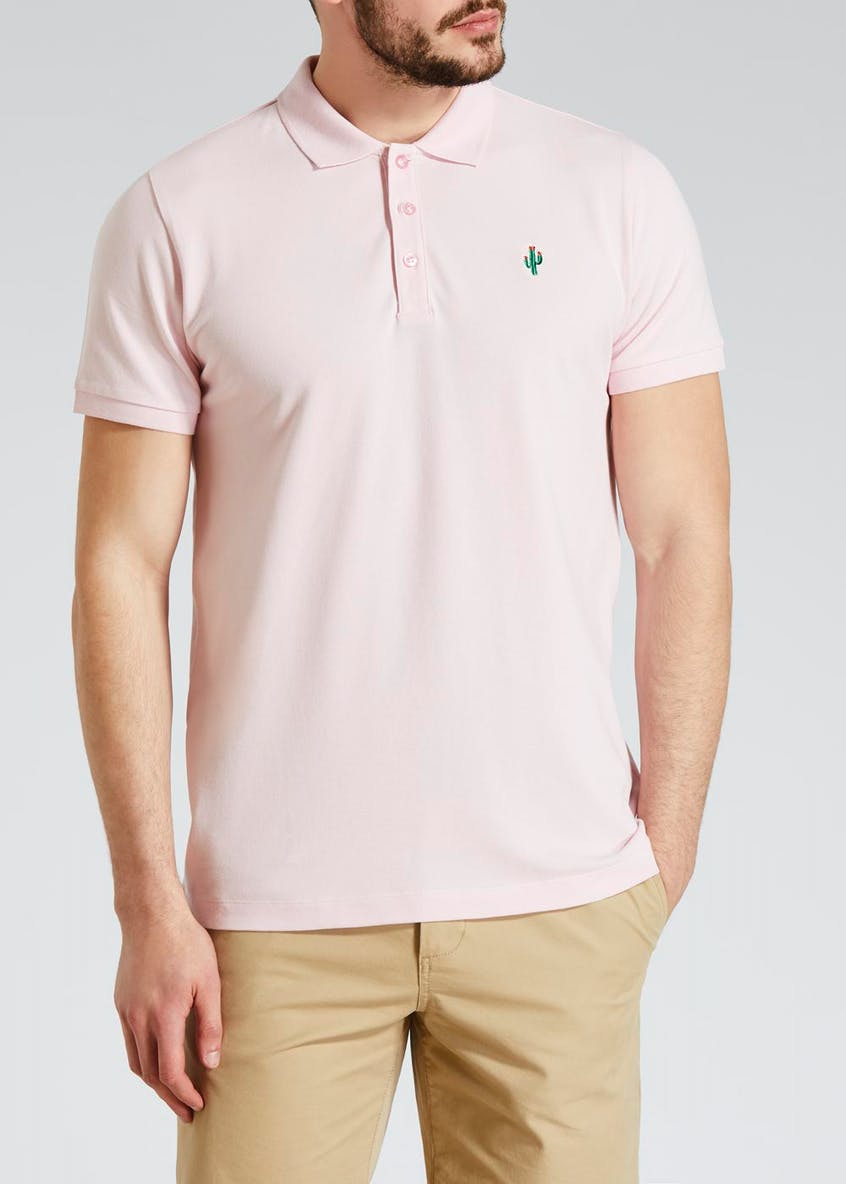 Embroidered Cactus Badge Polo Shirt