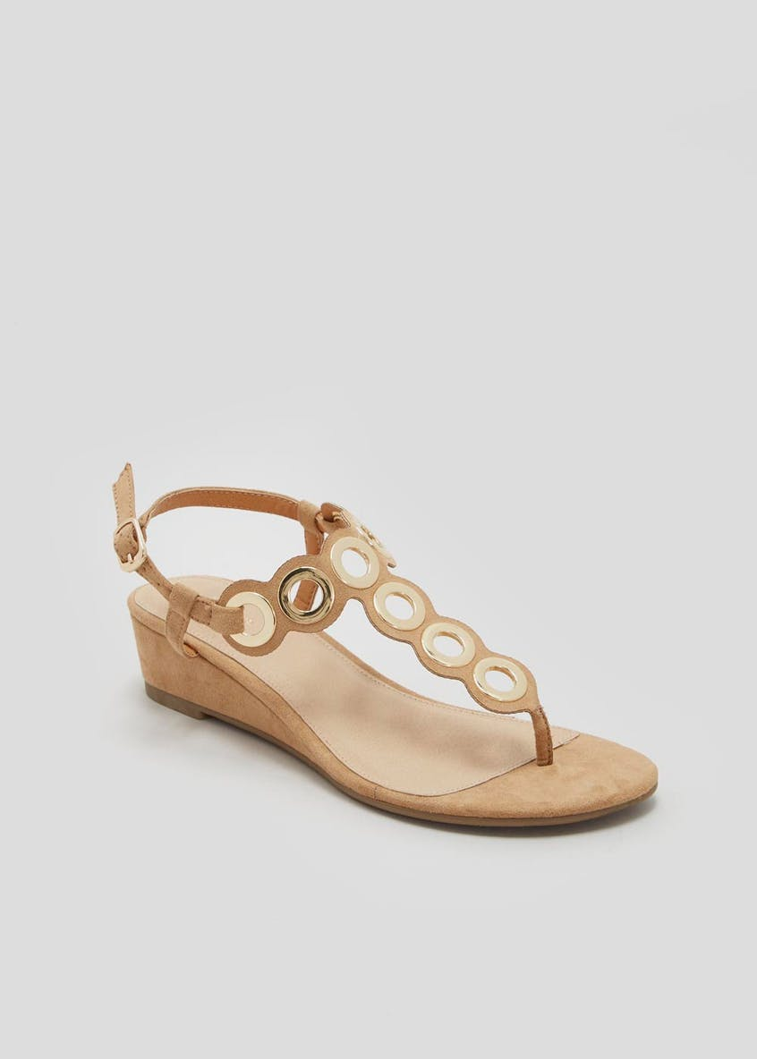 Eyelet Wedge Toe Post Sandals