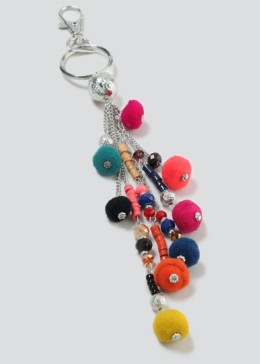 Beaded Multi Chain Pom Pom Keyring