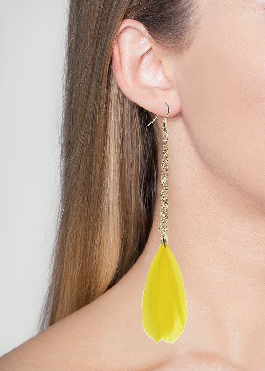 Statement Chain and Feather Drop Earrings