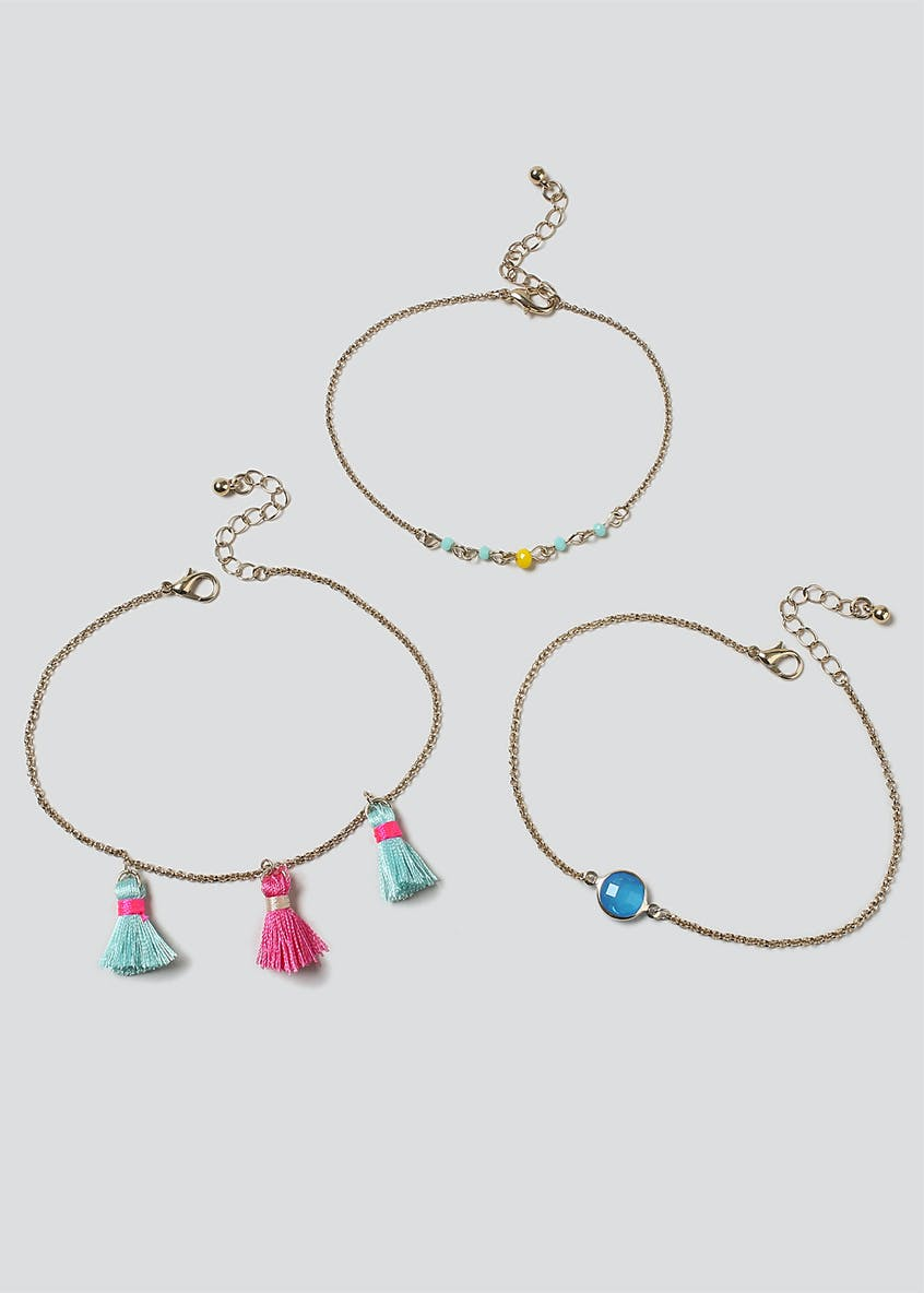 Bright Tassel and Stone Anklet 3 Pack