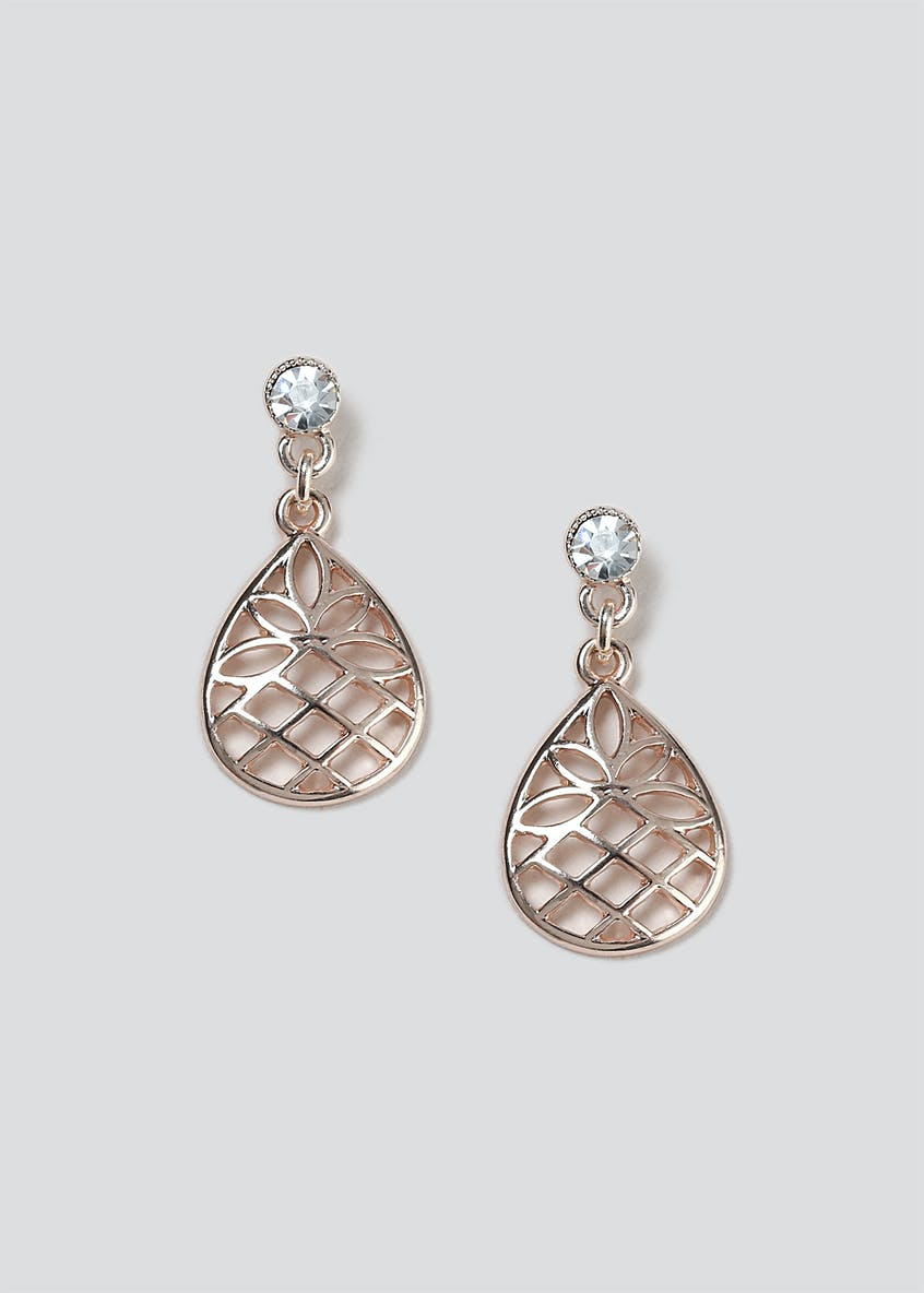 Cutout Teardrop and Rhinestone Earrings