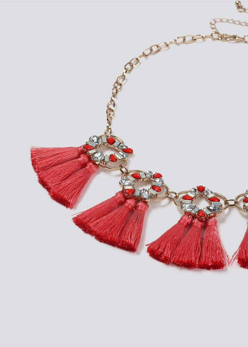 Tassel And Sparkle Stone Collar Neckwear