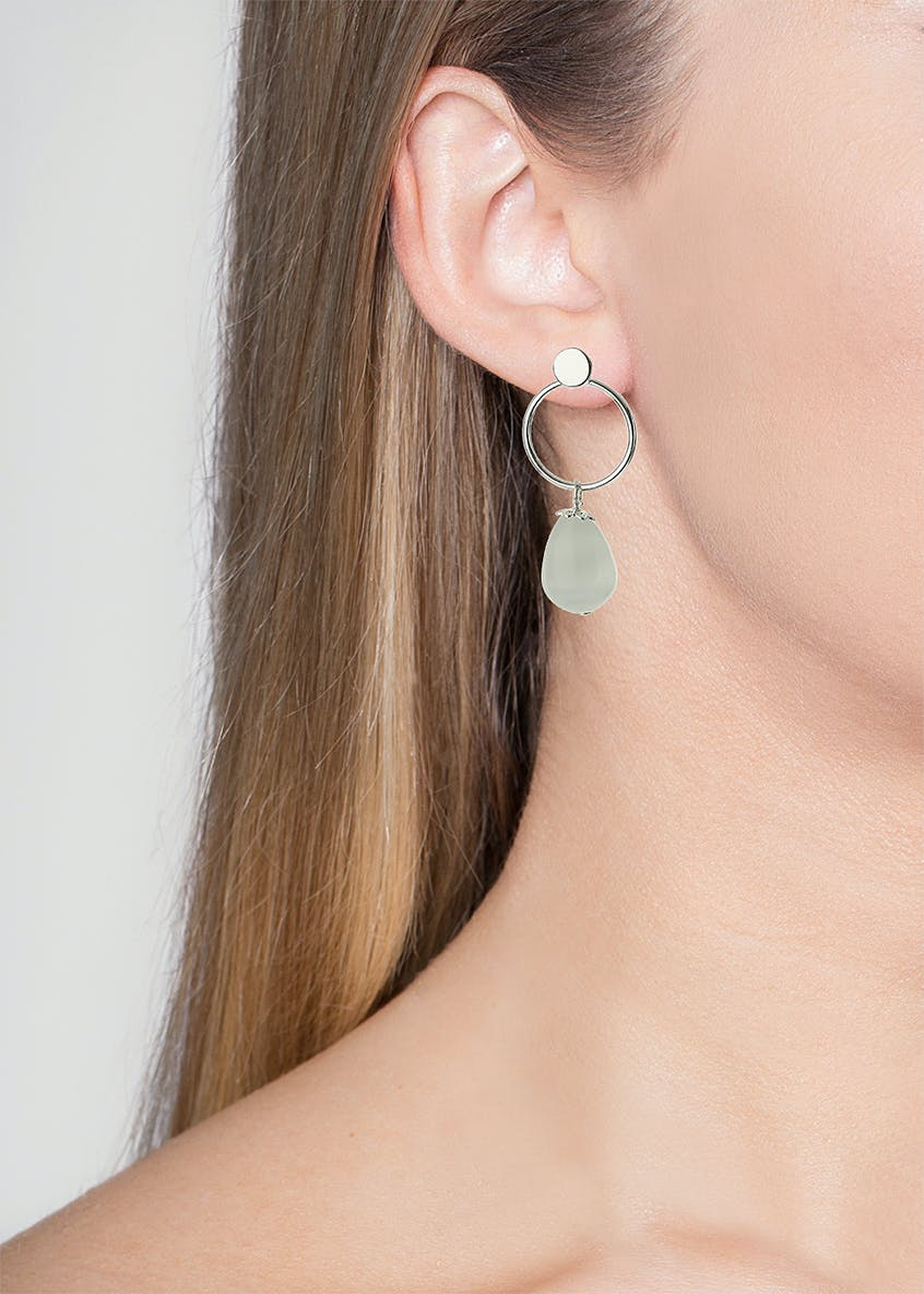 Stud and Hoop Earrings with Catseye Bead Drop