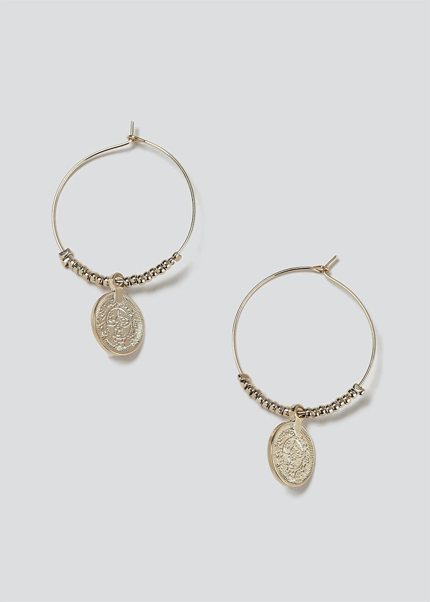 Coin Beaded Hoop Earrings