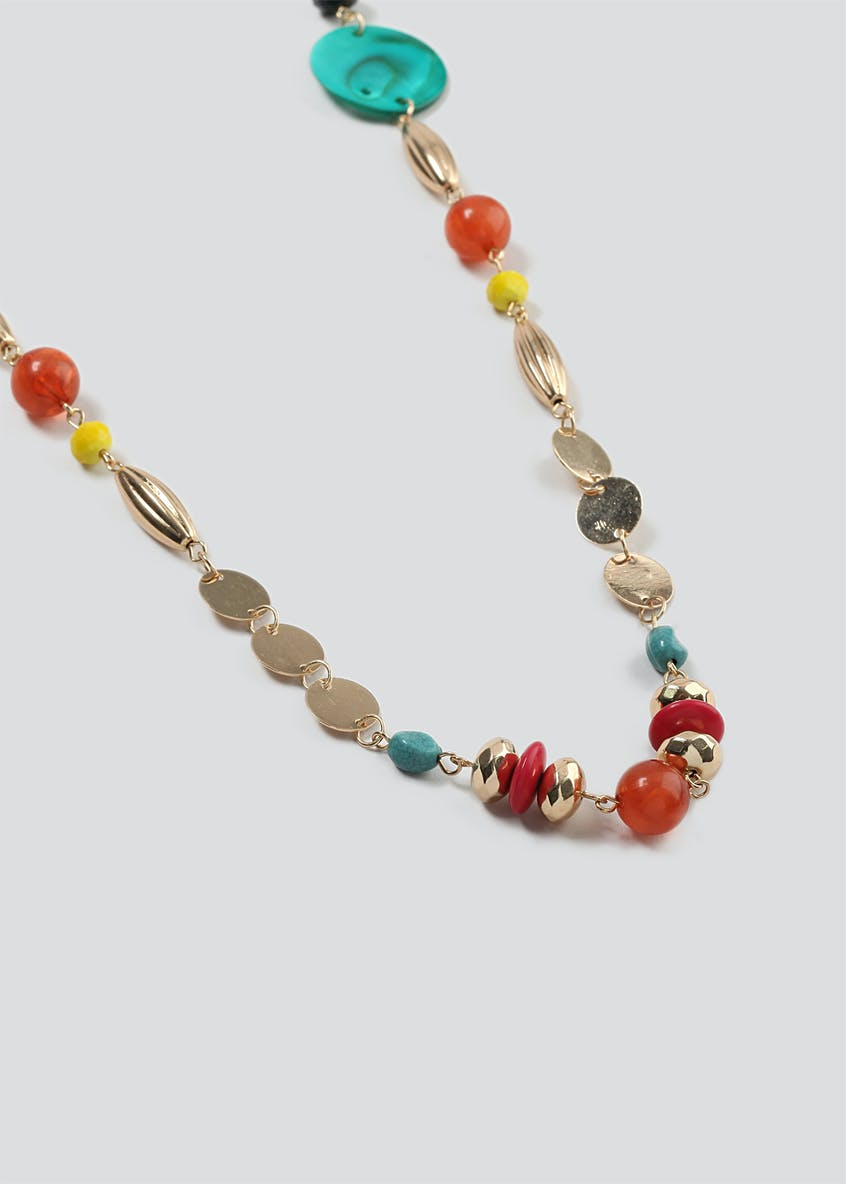 Shell Beaded Long Necklace