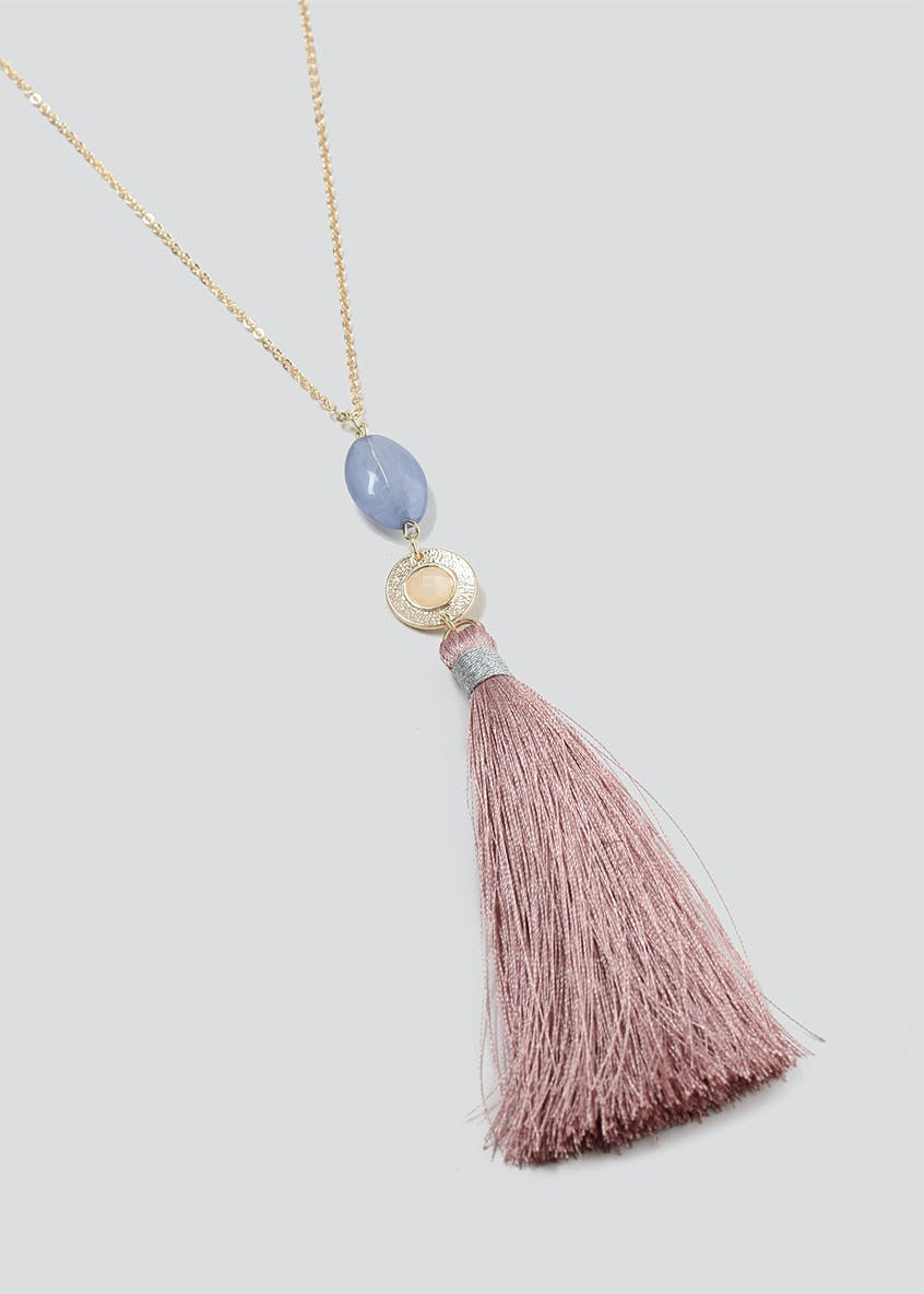Long Bead And Tassel Necklace