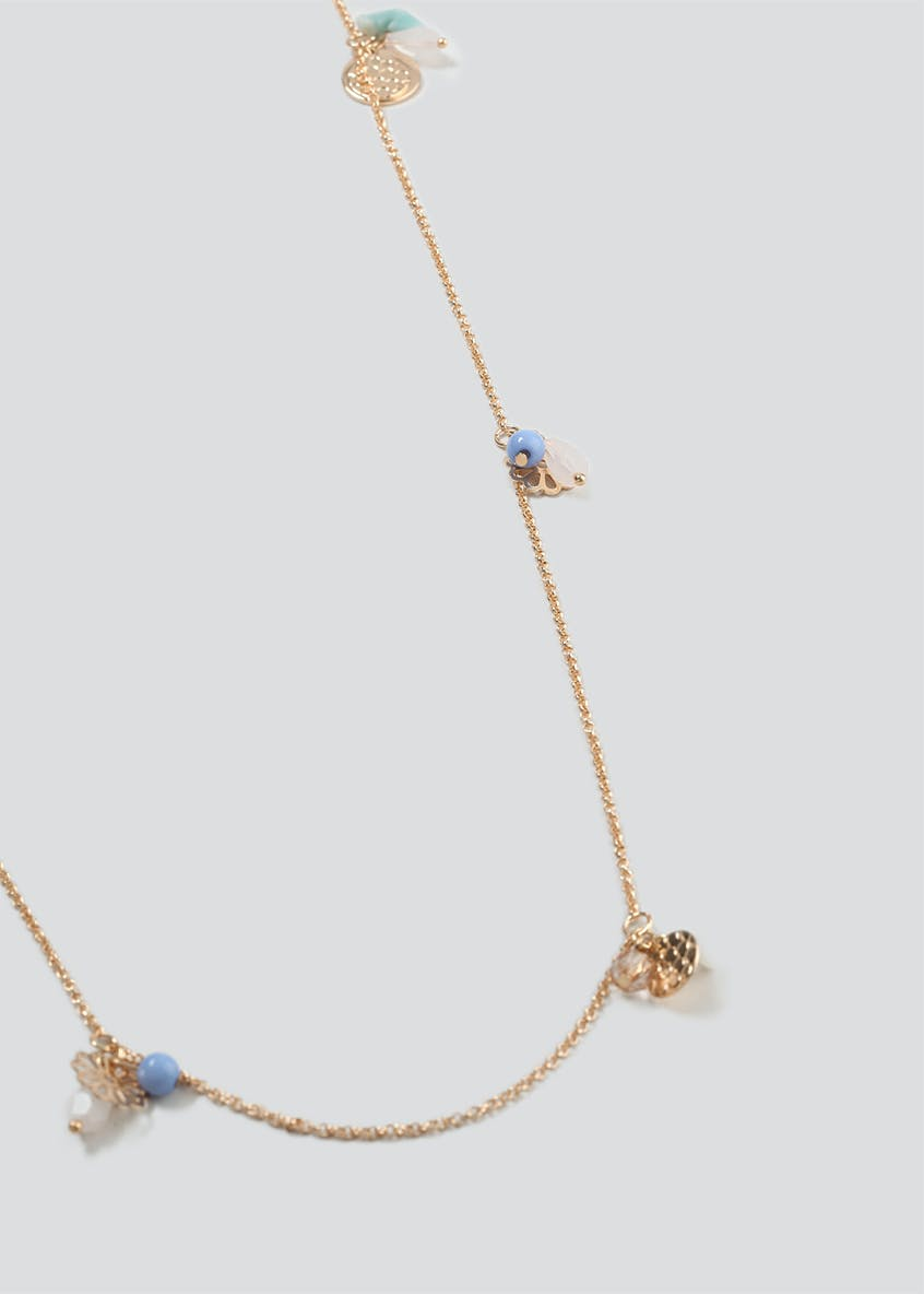 Long Disc And Flower Necklace