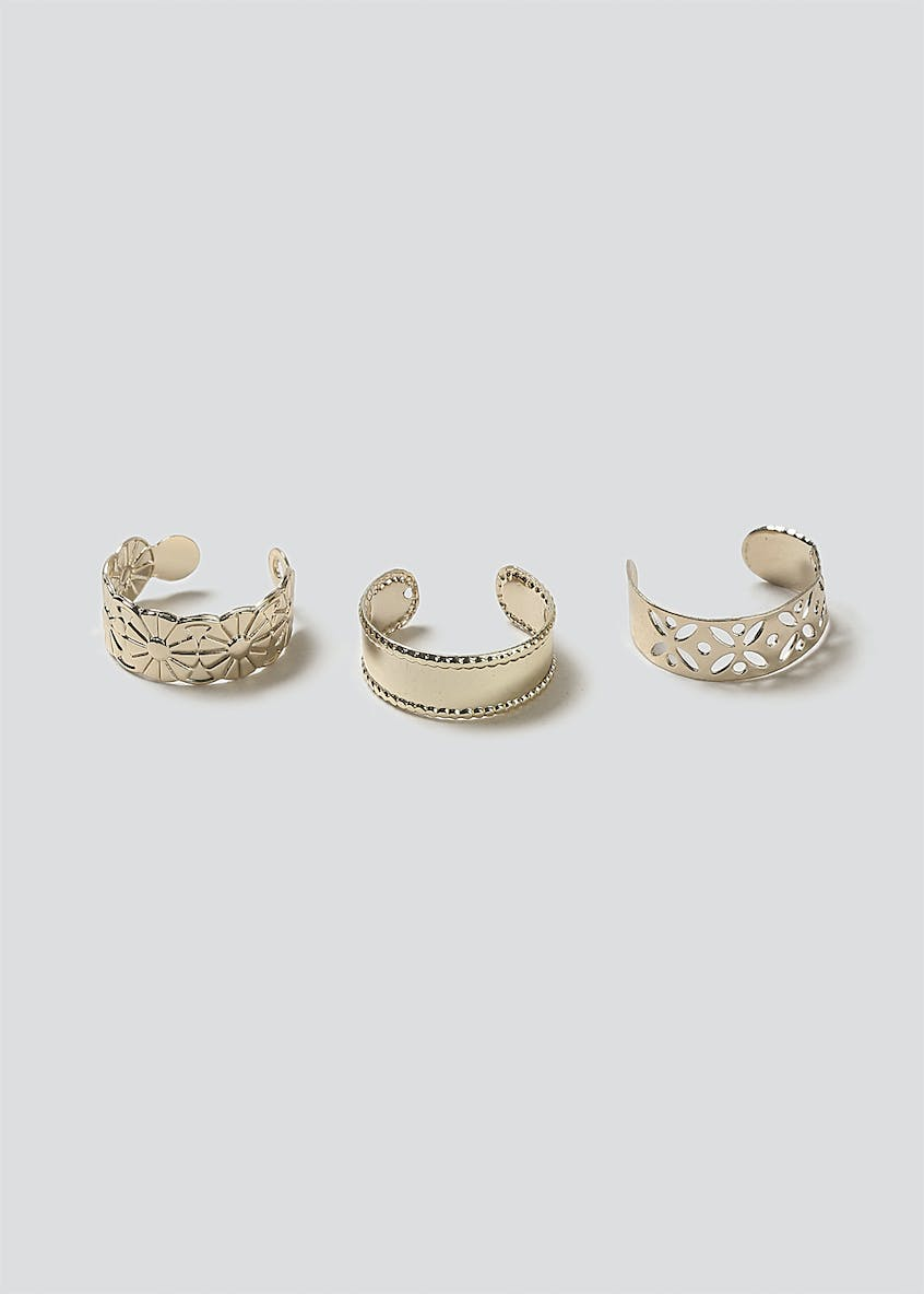 Pretty Engraved Toe Ring Pack