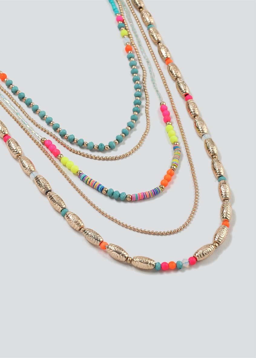 Beaded Charm Multi Row Necklace