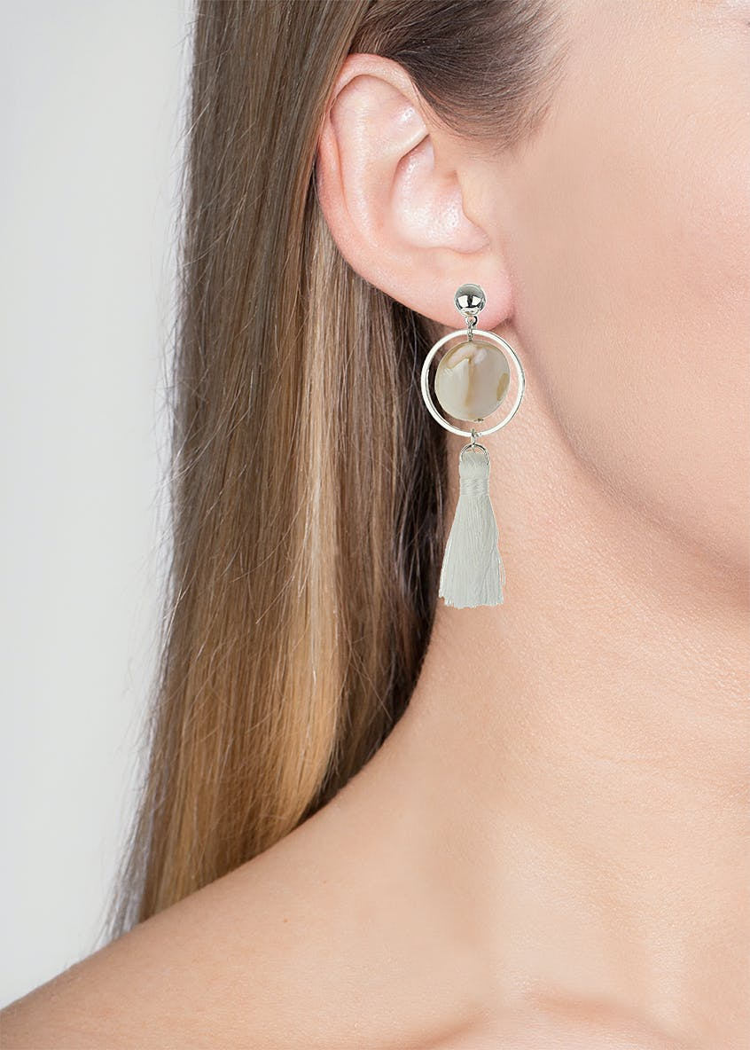 Circle And Tassle Earrings