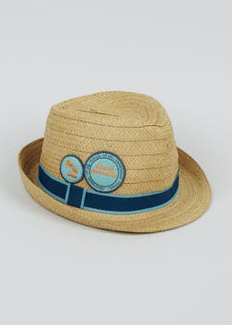 Boys Appliqué Straw Trilby Hat (4-13yrs)