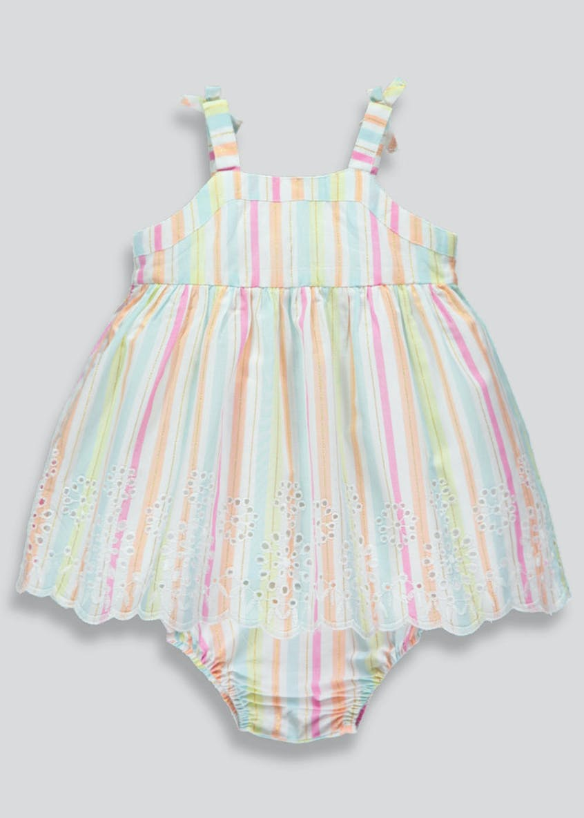 Girls Stripe Broderie Dress & Knickers Set (Tiny Baby-18mths)