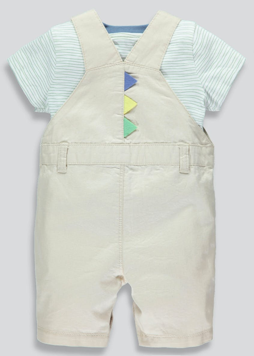Boys Dino Dungarees & T-Shirt Set (Newborn-18mths)