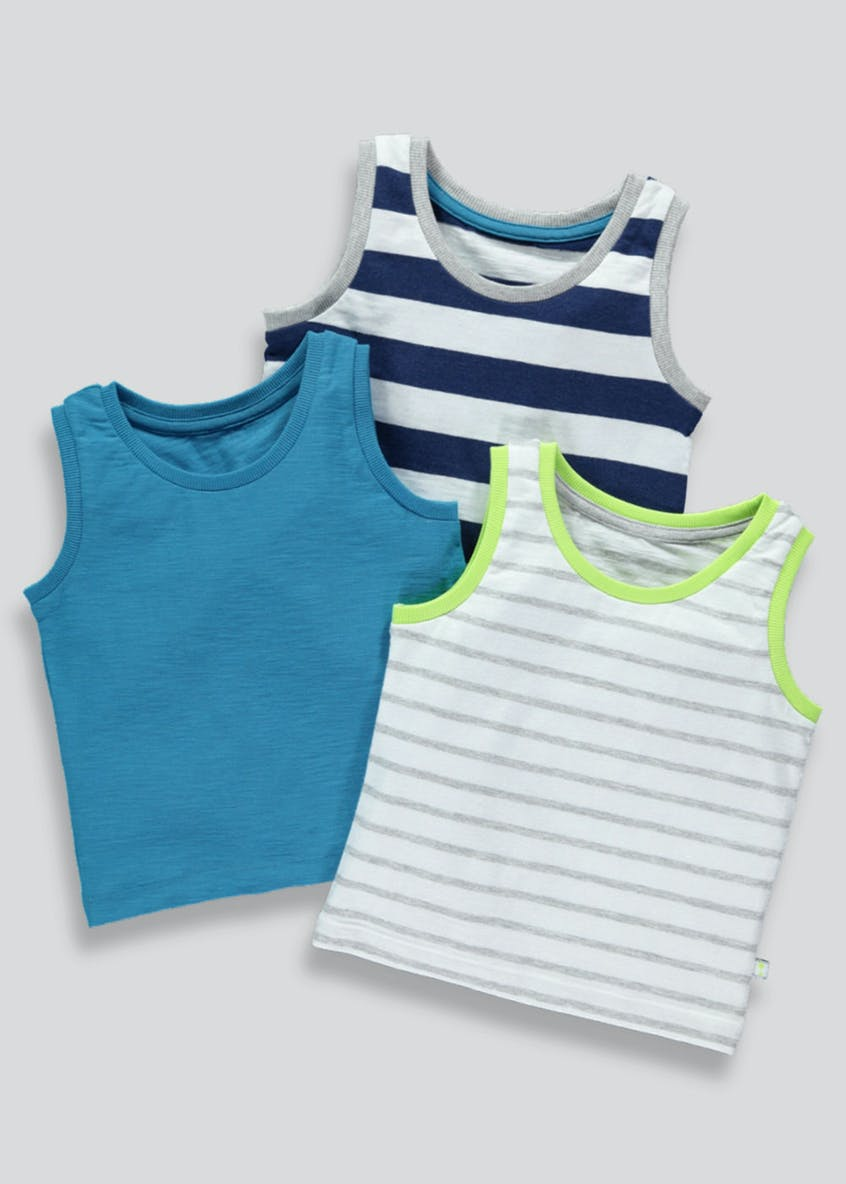 Boys 3 Pack Stripe Vests (3mths-6yrs)