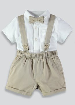 Boys Shorts with Braces & Bow Tie Bodysuit (Newborn-18mths)