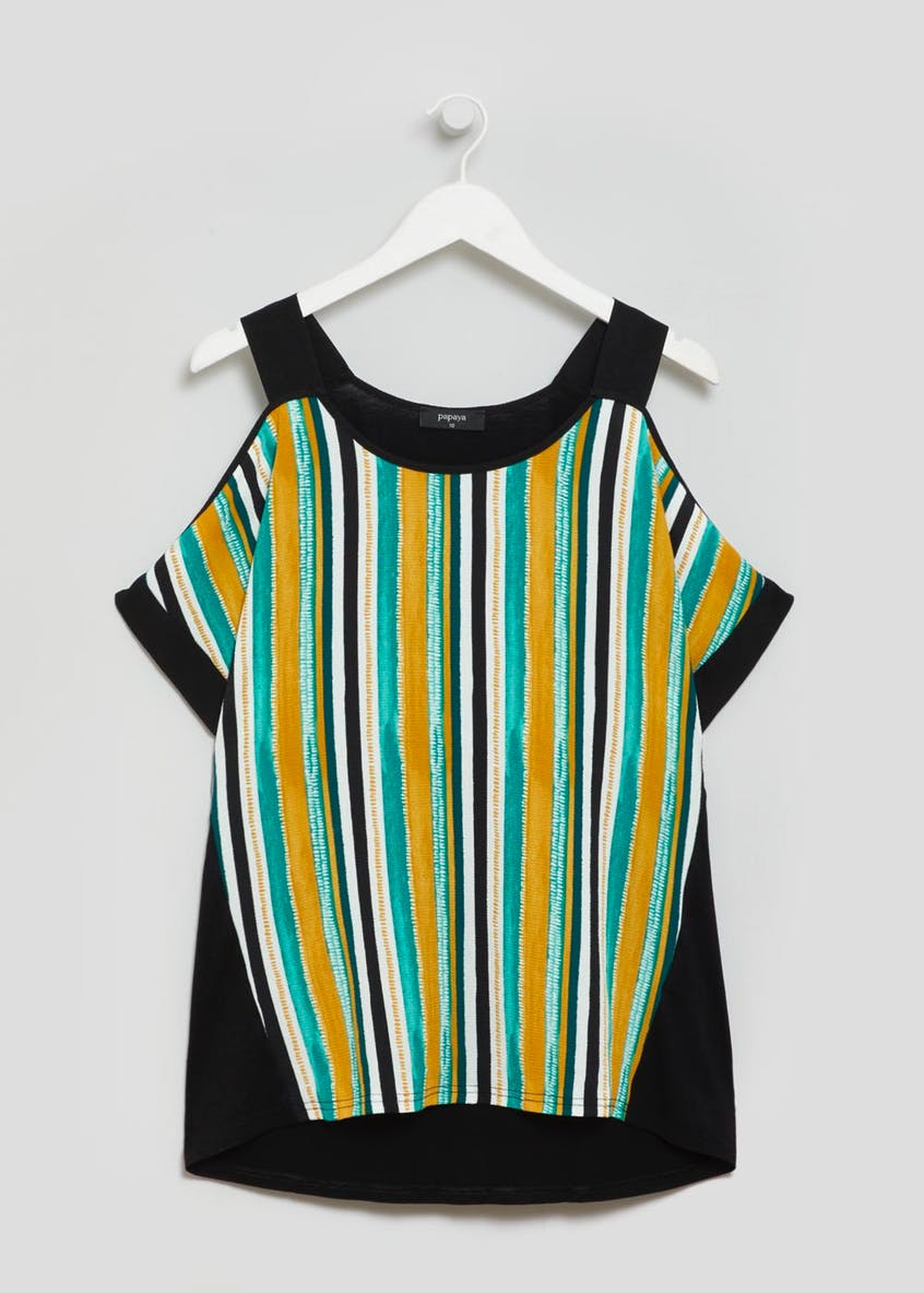 Stripe Woven Front Cold Shoulder Top