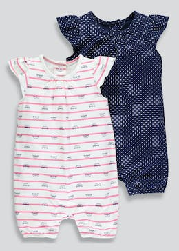 Girls 2 Pack Nautical Shortie Rompers (Newborn-18mths)