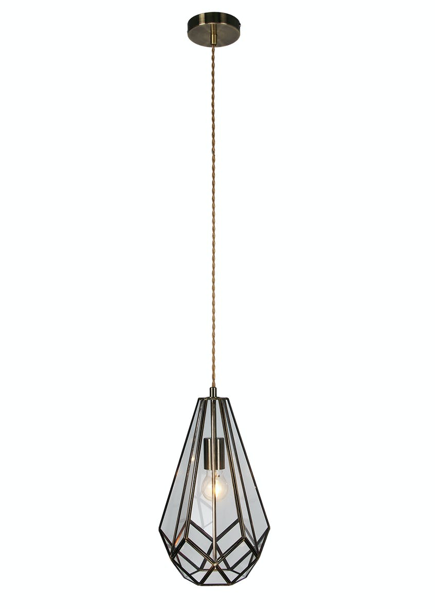 Ava Glass & Brass Pendant Light (H100cm-40cm x W21cm)