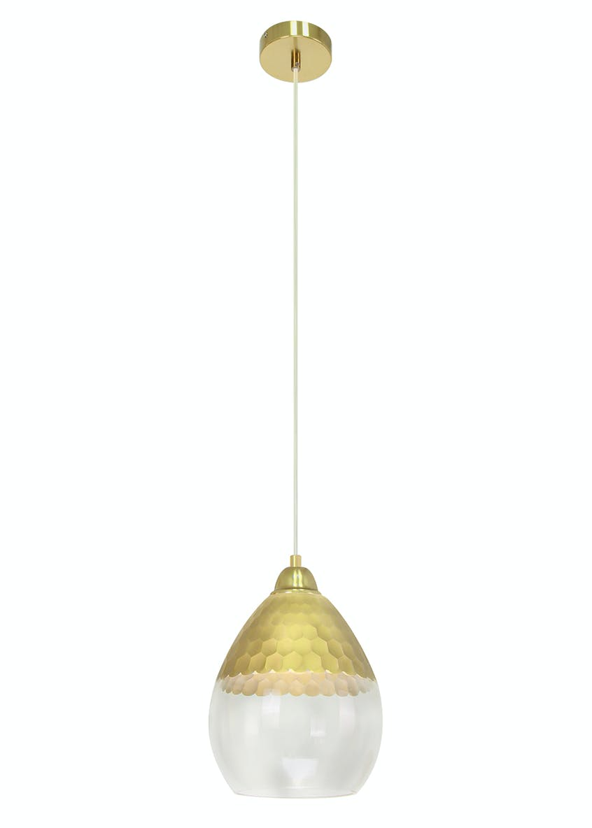 Evie Gold Glass Pendant Light (H130cm-35cm x W20cm)