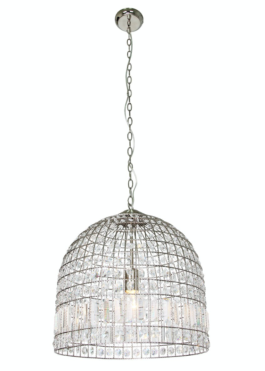 Melia Crystal Dome Pendant Light (H145cm-50cm x W45cm)