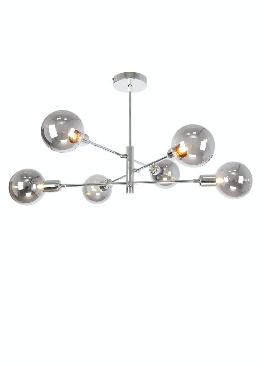 Nova Smoked Glass Semi Flush Light (H64cm x W68cm)