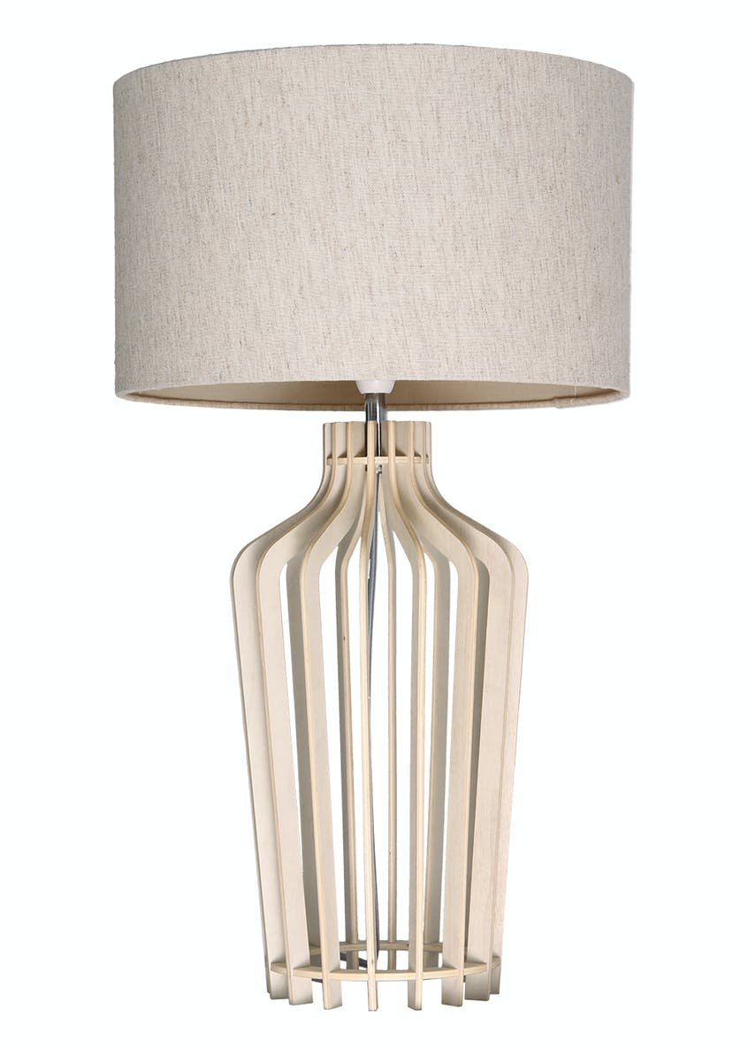 Natasia Wood Table Lamp (H63cm x W35cm)